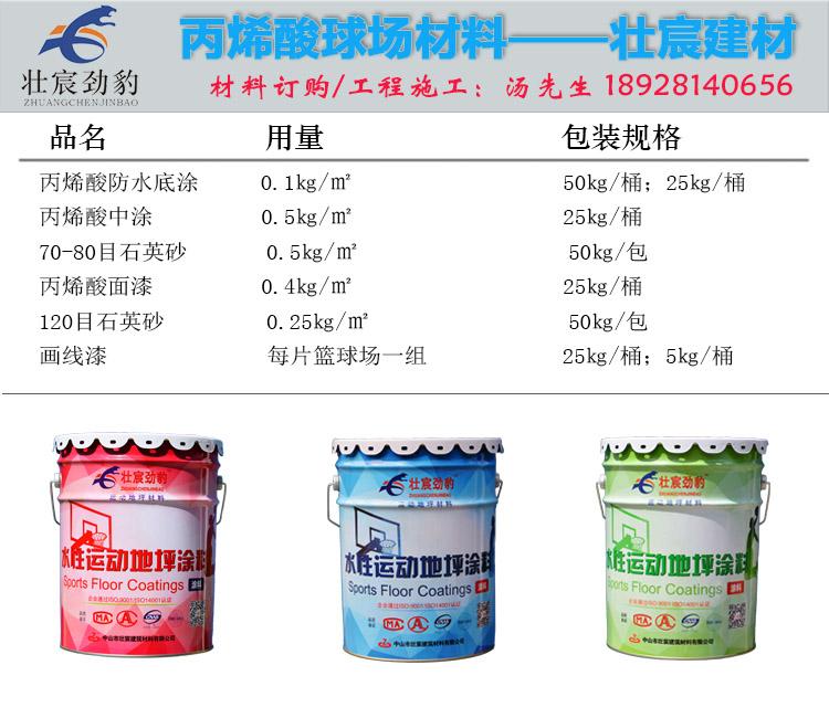 室外丙烯酸篮球场材料用量