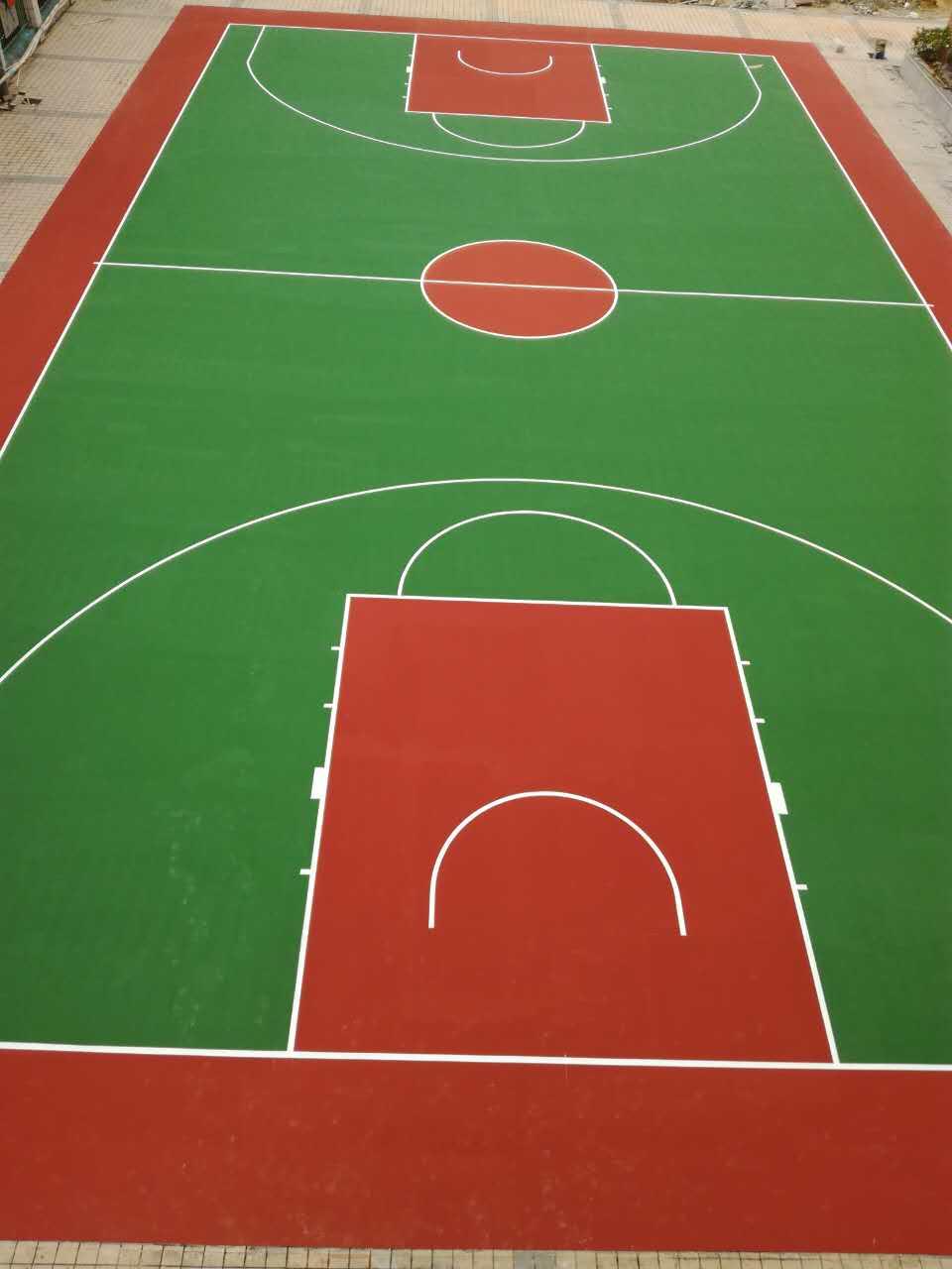 珠海市夏湾中学室外弹性丙烯酸篮球场 4mm弹性丙烯酸