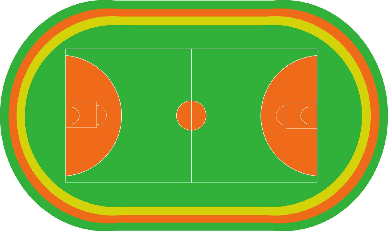 黎桂添幼儿园 彩色跑道 篮球场地面设计图
