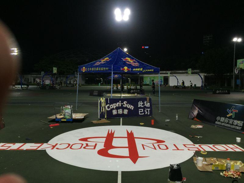 佛山禅城区岭南明珠体育馆 室外丙烯酸篮球场nba球队图片