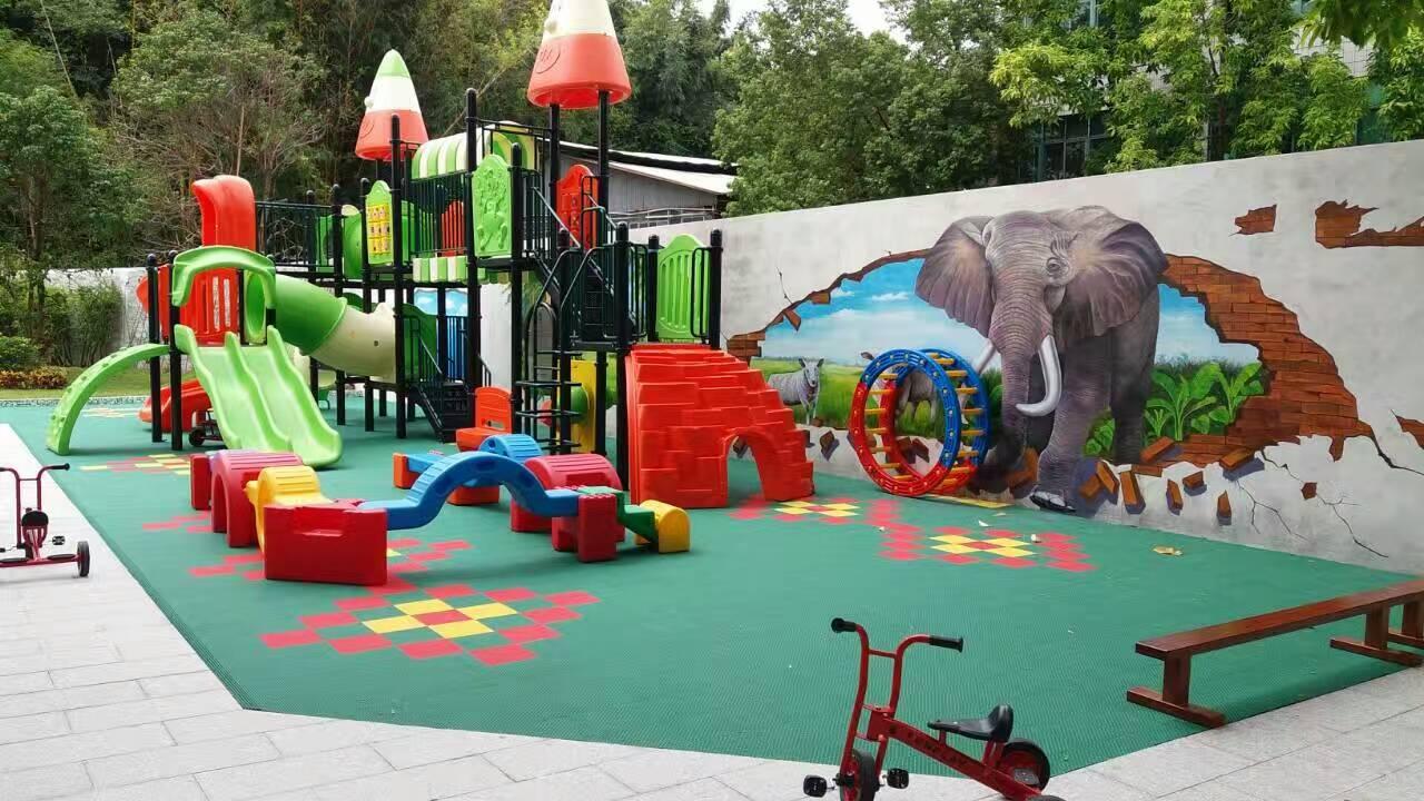 中山市伟才国际幼儿园地面装修 幼儿园悬浮拼装地板