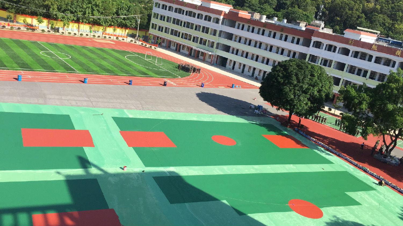 崇左中学运动场 篮球场施工