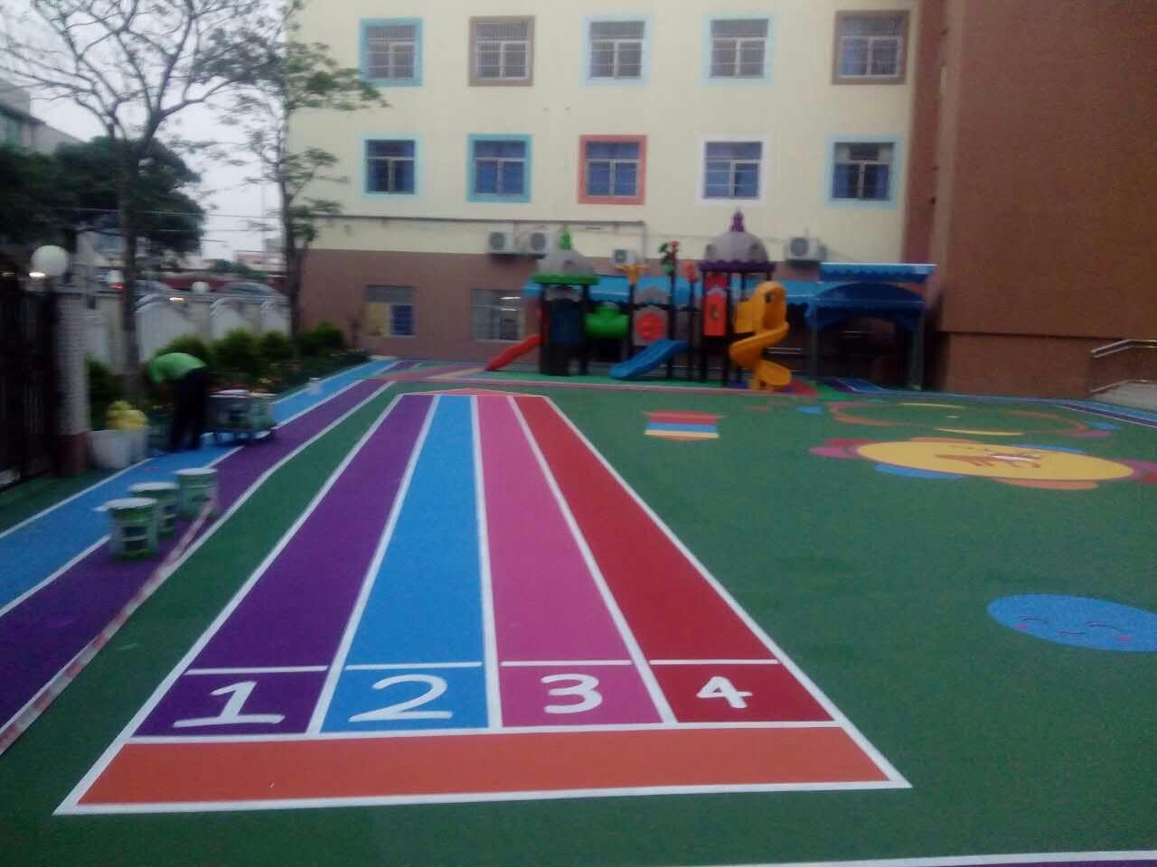 中山东升镇 唯可儿幼儿园地面装修 水性丙烯酸彩色地坪 操场地面