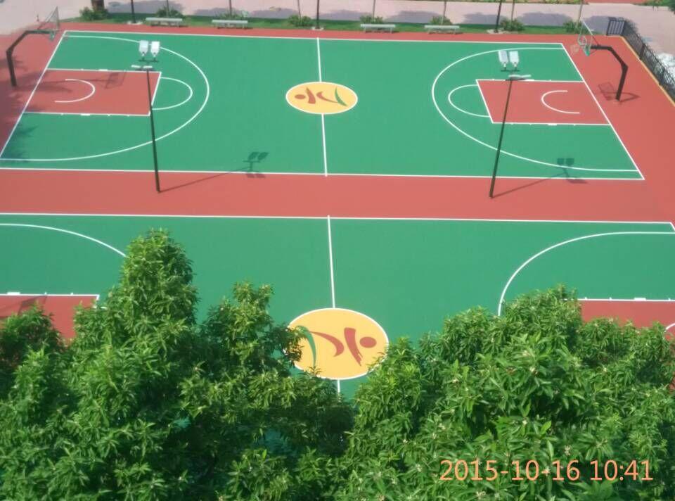 珠海香洲六小学篮球场施工采用壮宸劲豹丙烯酸球场材料