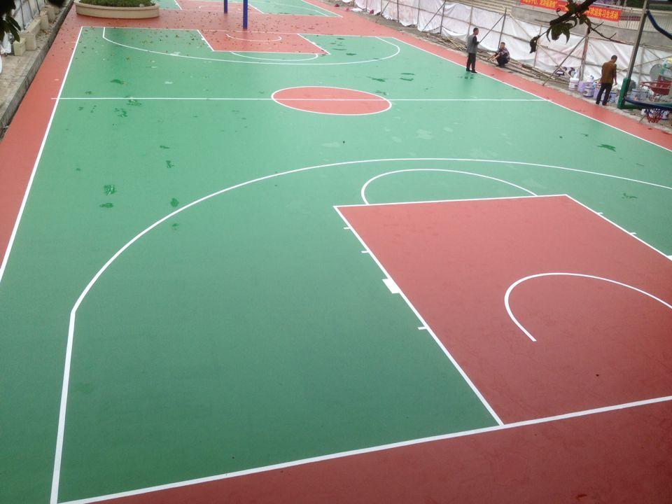壮宸建材水性硅PU球场材料供应广州番禺福涌小学8mm硅PU篮球场