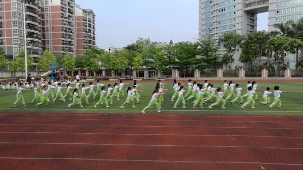 中山火炬开发区香晖园小学运动场,在塑胶跑道操场进行武术操