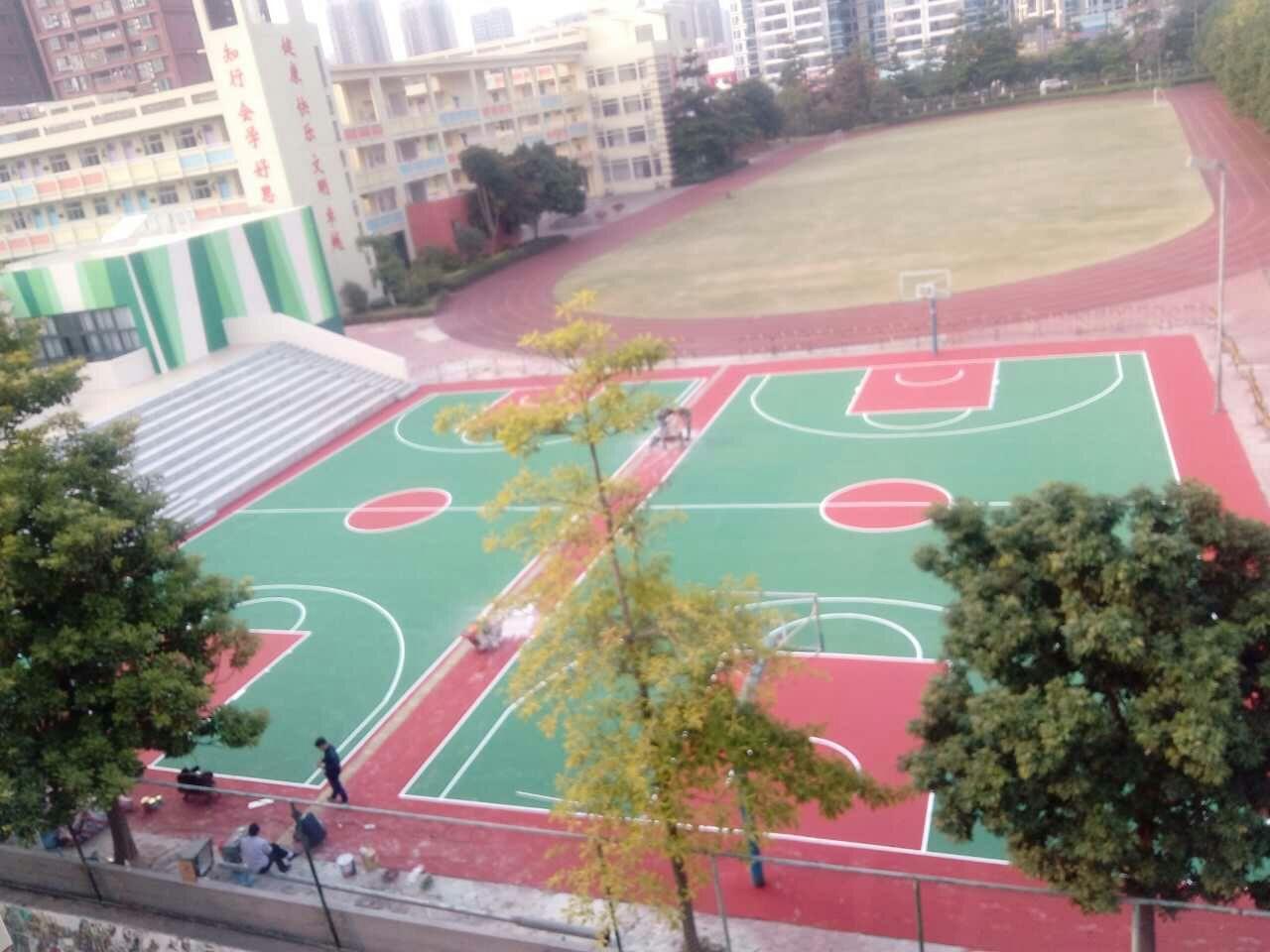 珠海实验学校旧PU球场翻新改造成水性丙烯酸篮球场!
