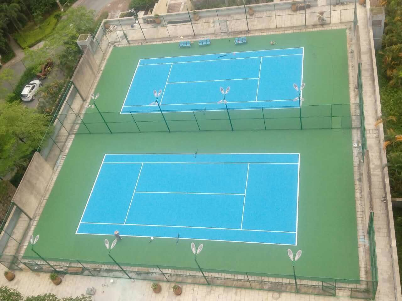 珠海里维埃拉一期锦绣荣城室外标准丙烯酸网球场 两片场地