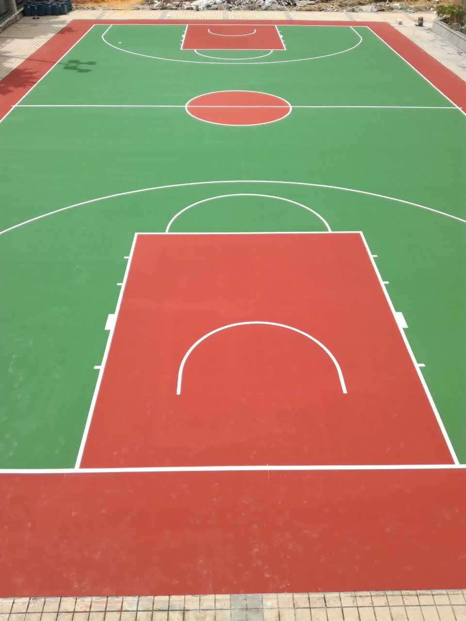珠海市夏湾中学室外弹性丙烯酸篮球场 4mm弹性丙烯酸球场地坪完工