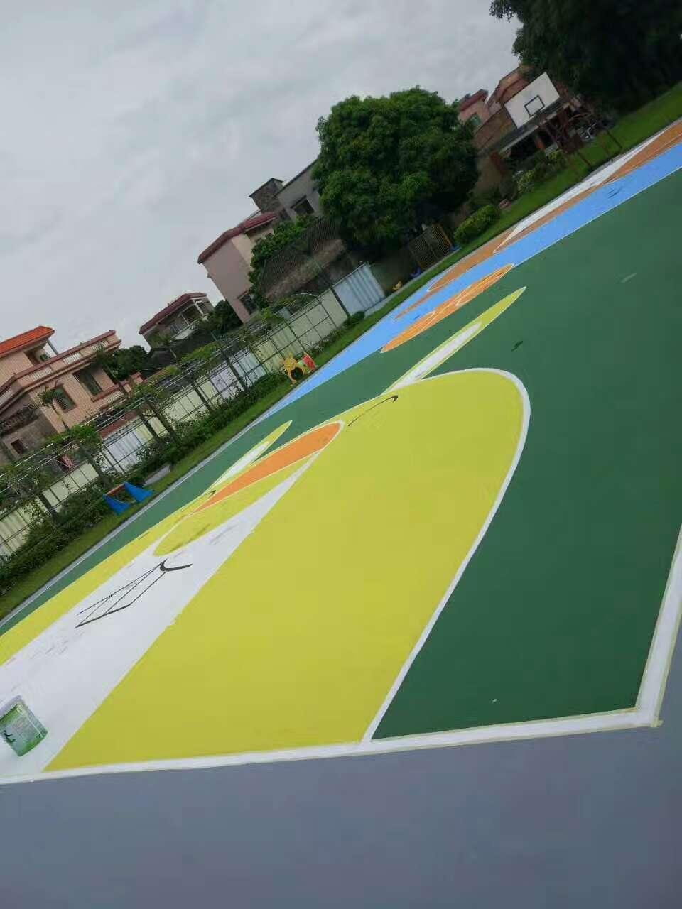 佛山市九江镇南幼儿园运动场美化改造工程 水性彩色地面完工