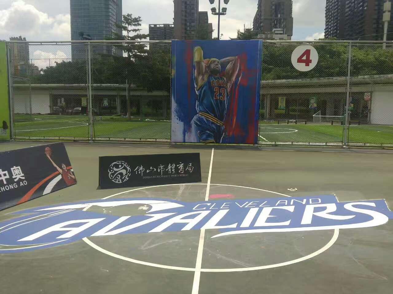 佛山禅城区岭南明珠体育馆 室外丙烯酸篮球场NBA球队涂鸦