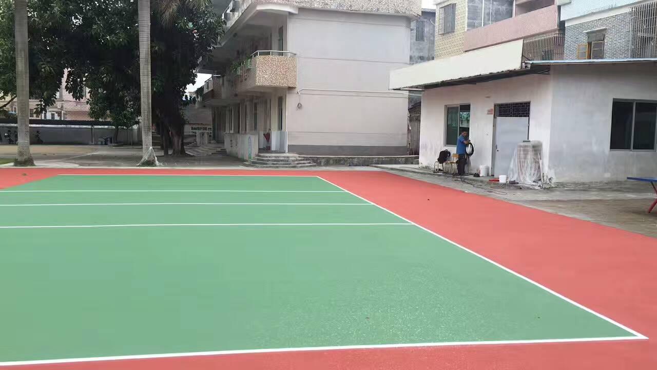 云浮新兴县桥亭小学丙烯酸球场施工  丙烯酸排球场完工