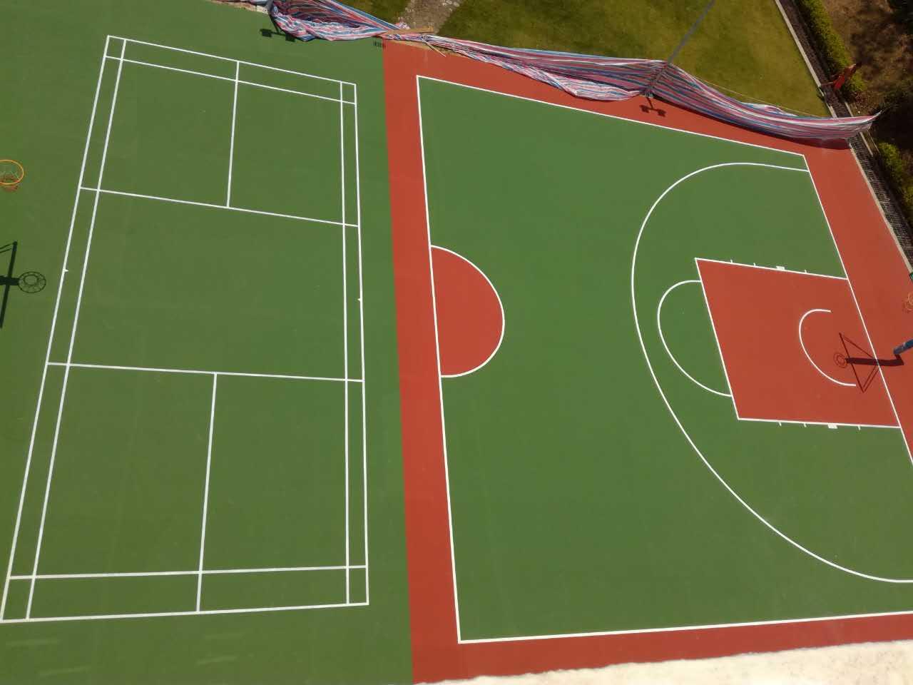 珠海瑞桦戒毒康复医院室外丙烯酸篮球场丙烯酸羽毛球场地