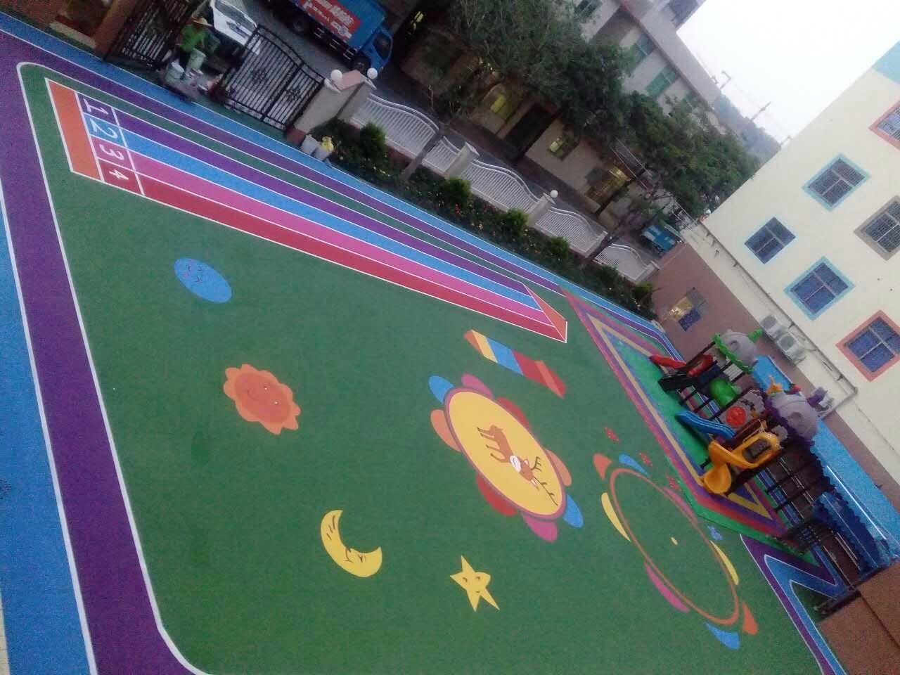 中山东升唯可儿幼儿园 水性丙烯酸彩色地面!