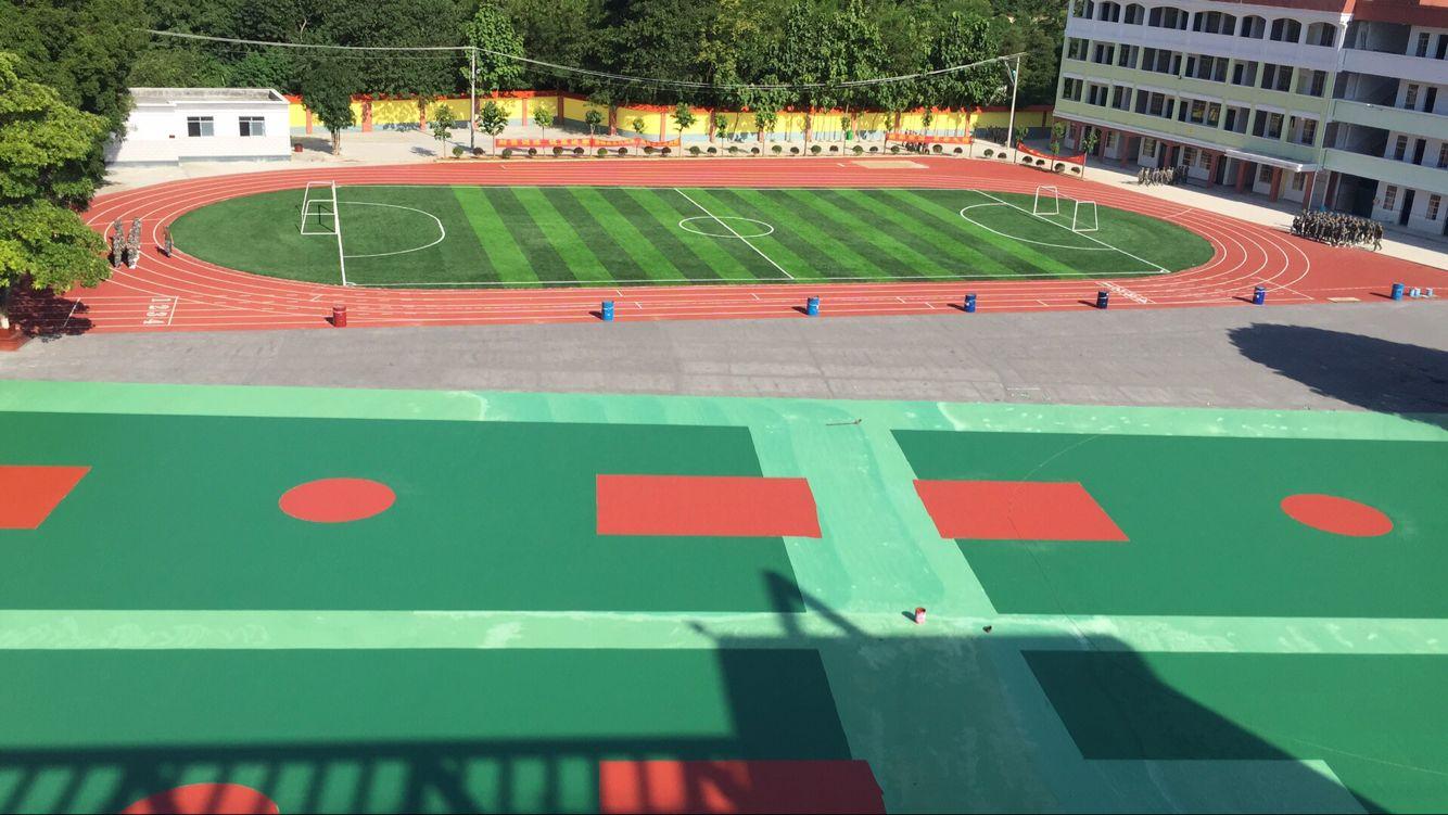 广西崇左江州区和平中学硅PU篮球场