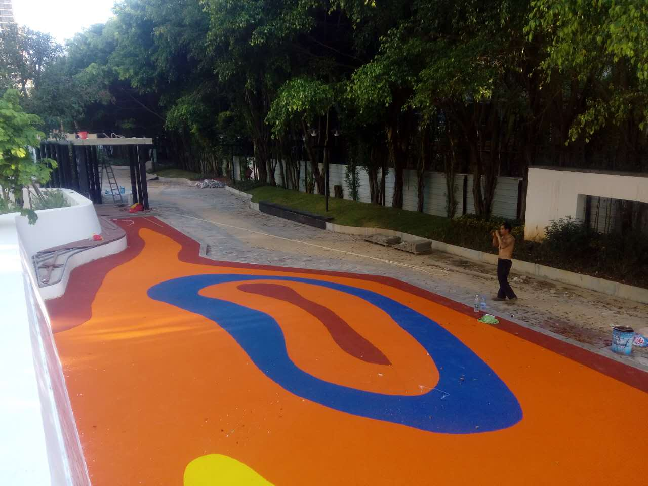 珠海景山文化中心 彩色运动地坪 环保EPDM地坪 水性丙烯酸羽毛球场
