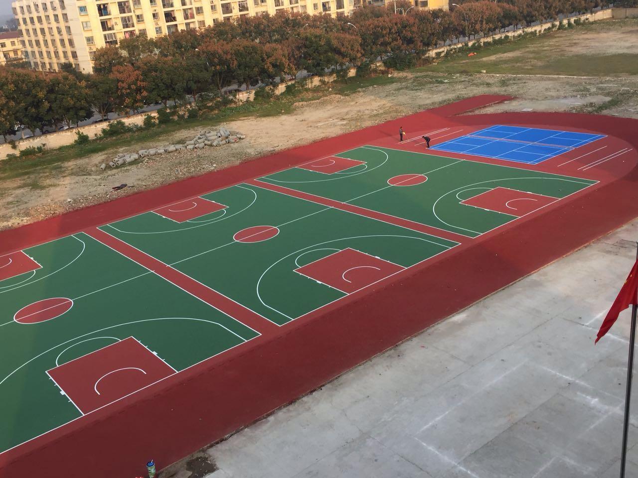 宜城市志达寄宿实验学校水性丙烯酸篮球场场地地面