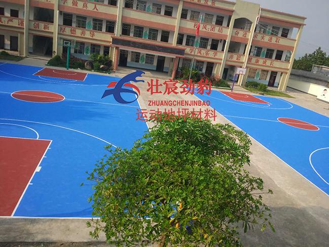 广西玉林市陆川县滩面镇新旺小学水性硬地丙烯酸球场