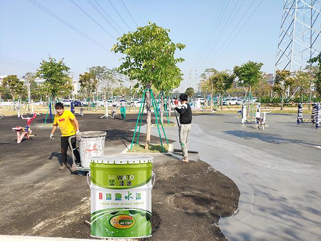 公园篮球场施工|社区公园地面施工|公园地面美化|公园地面环保油漆涂料